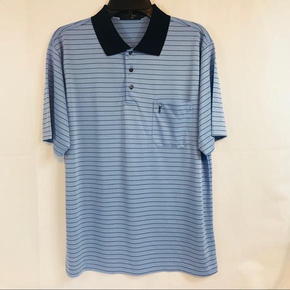 c4c2d786 Yves Saint Laurent Blue Striped Silk Polo Shirt XL.  M_5b6e12d18869f7ab5f4b97e2